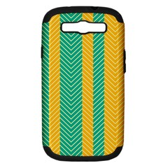 Green And Orange Herringbone Wallpaper Pattern Background Samsung Galaxy S Iii Hardshell Case (pc+silicone)