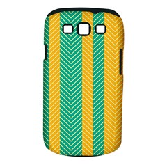 Green And Orange Herringbone Wallpaper Pattern Background Samsung Galaxy S III Classic Hardshell Case (PC+Silicone)