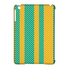 Green And Orange Herringbone Wallpaper Pattern Background Apple Ipad Mini Hardshell Case (compatible With Smart Cover)