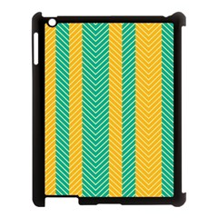 Green And Orange Herringbone Wallpaper Pattern Background Apple iPad 3/4 Case (Black)