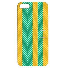 Green And Orange Herringbone Wallpaper Pattern Background Apple iPhone 5 Hardshell Case with Stand