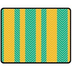 Green And Orange Herringbone Wallpaper Pattern Background Double Sided Fleece Blanket (Medium)