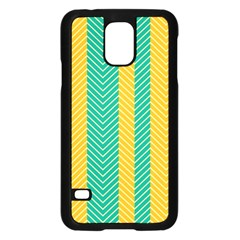 Green And Orange Herringbone Wallpaper Pattern Background Samsung Galaxy S5 Case (black)