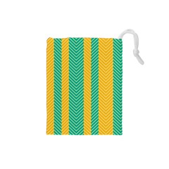 Green And Orange Herringbone Wallpaper Pattern Background Drawstring Pouches (Small)
