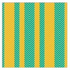 Green And Orange Herringbone Wallpaper Pattern Background Large Satin Scarf (Square)
