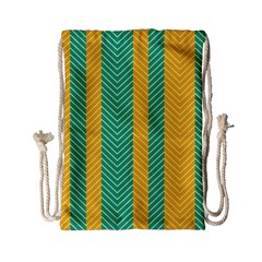 Green And Orange Herringbone Wallpaper Pattern Background Drawstring Bag (Small)