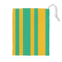 Green And Orange Herringbone Wallpaper Pattern Background Drawstring Pouches (extra Large)