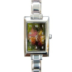 Abstract Brush Strokes In A Floral Pattern  Rectangle Italian Charm Watch