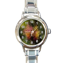 Abstract Brush Strokes In A Floral Pattern  Round Italian Charm Watch