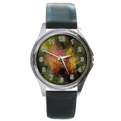 Abstract Brush Strokes In A Floral Pattern  Round Metal Watch