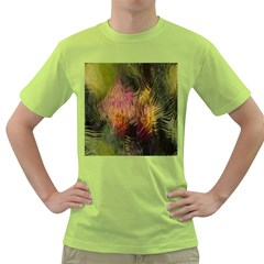 Abstract Brush Strokes In A Floral Pattern  Green T-Shirt