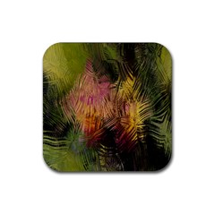 Abstract Brush Strokes In A Floral Pattern  Rubber Square Coaster (4 pack)