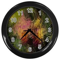 Abstract Brush Strokes In A Floral Pattern  Wall Clocks (black)
