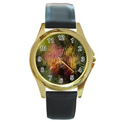 Abstract Brush Strokes In A Floral Pattern  Round Gold Metal Watch