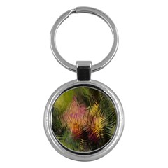 Abstract Brush Strokes In A Floral Pattern  Key Chains (Round)