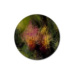 Abstract Brush Strokes In A Floral Pattern  Rubber Round Coaster (4 pack)