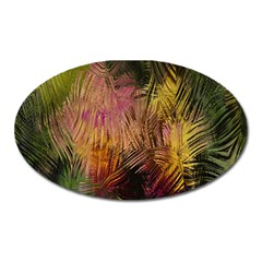 Abstract Brush Strokes In A Floral Pattern  Oval Magnet
