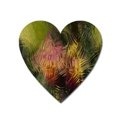 Abstract Brush Strokes In A Floral Pattern  Heart Magnet