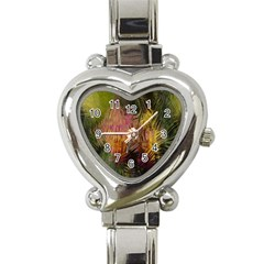 Abstract Brush Strokes In A Floral Pattern  Heart Italian Charm Watch