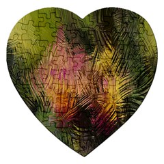 Abstract Brush Strokes In A Floral Pattern  Jigsaw Puzzle (Heart)