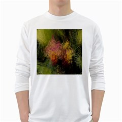 Abstract Brush Strokes In A Floral Pattern  White Long Sleeve T Shirts