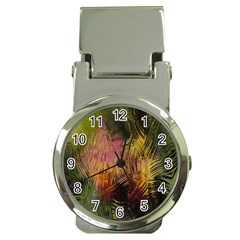 Abstract Brush Strokes In A Floral Pattern  Money Clip Watches