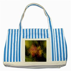 Abstract Brush Strokes In A Floral Pattern  Striped Blue Tote Bag