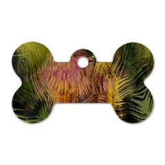 Abstract Brush Strokes In A Floral Pattern  Dog Tag Bone (one Side)