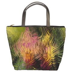 Abstract Brush Strokes In A Floral Pattern  Bucket Bags