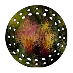 Abstract Brush Strokes In A Floral Pattern  Round Filigree Ornament (Two Sides)