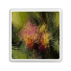Abstract Brush Strokes In A Floral Pattern  Memory Card Reader (square)
