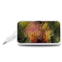 Abstract Brush Strokes In A Floral Pattern  Portable Speaker (White)