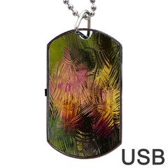 Abstract Brush Strokes In A Floral Pattern  Dog Tag USB Flash (Two Sides)