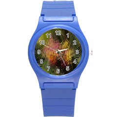 Abstract Brush Strokes In A Floral Pattern  Round Plastic Sport Watch (s)