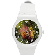 Abstract Brush Strokes In A Floral Pattern  Round Plastic Sport Watch (M)