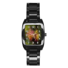 Abstract Brush Strokes In A Floral Pattern  Stainless Steel Barrel Watch