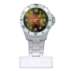 Abstract Brush Strokes In A Floral Pattern  Plastic Nurses Watch