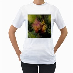 Abstract Brush Strokes In A Floral Pattern  Women s T Shirt (white)