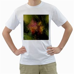 Abstract Brush Strokes In A Floral Pattern  Men s T-Shirt (White)