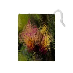 Abstract Brush Strokes In A Floral Pattern  Drawstring Pouches (Medium)
