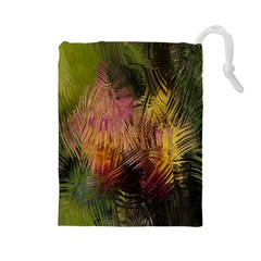 Abstract Brush Strokes In A Floral Pattern  Drawstring Pouches (Large)