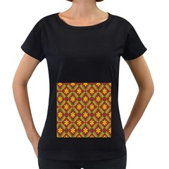 Beautiful Abstract Pattern Background Wallpaper Seamless Women s Loose-Fit T-Shirt (Black)