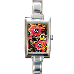 Abstract Clutter Pattern Baffled Field Rectangle Italian Charm Watch