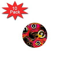 Abstract Clutter Pattern Baffled Field 1  Mini Buttons (10 Pack)