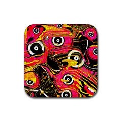 Abstract Clutter Pattern Baffled Field Rubber Square Coaster (4 pack)