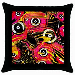 Abstract Clutter Pattern Baffled Field Throw Pillow Case (Black)
