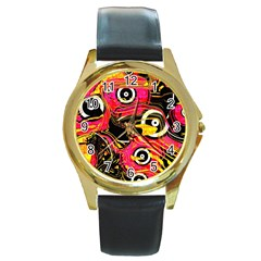 Abstract Clutter Pattern Baffled Field Round Gold Metal Watch