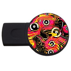 Abstract Clutter Pattern Baffled Field Usb Flash Drive Round (2 Gb)