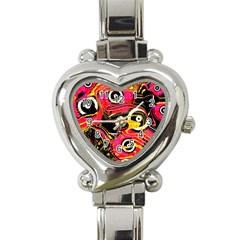Abstract Clutter Pattern Baffled Field Heart Italian Charm Watch