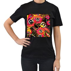 Abstract Clutter Pattern Baffled Field Women s T-Shirt (Black) (Two Sided)